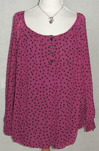 NEW Marina Kaneva Dark Pink with Black spot  Long Sleeve Tunic Top Size UK 16