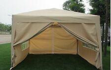 MCombo 10x10 EZ POP UP 4 WALLS CANOPY PARTY TENT GAZEBO WITH SIDES-Tan 6051