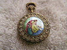 Vintage Italy Pin Hand Painted Signed Pocket Watch Shaped Cameo