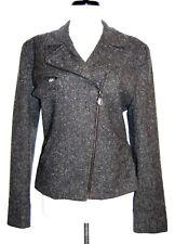 Lauren Ralph Lauren lambs wool tweed gray blazer jacket zip front 10