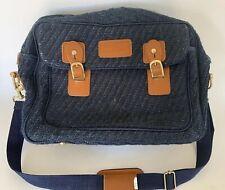 Vintage Oscar De La Renta  Navy Blue Tweed Travel Bag Brief Case Leather Buckles