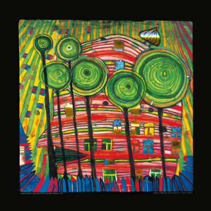 """Kunstdruck Hundertwasser """" Blobs Grow In Beloved Gardens """" 48x48 cm"""