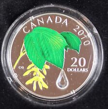 **2010** Maple Leaf With Crystal Raindrop, RCM Proof Silver $20 Dollar Coin