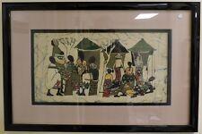 African Batik Folk Art Painting Village Scene - Framed