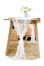 BOXAN 30x120 Inch White Classy Lace Table Runner/Overlay with Rose Vintage Em...