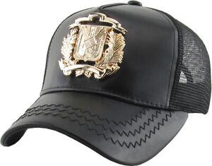 Dominican Republic Emblem DR PU Leather Mesh Baseball Cap Hat