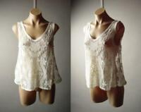 Ivory Sheer Embroidered Lace Romantic Boho Midriff Swing Cami Top 277 mv Blouse