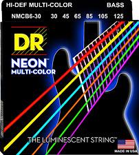 DR Strings NMCB6-30 NEON MULTI-COLOR Coated Bass Guitar Strings - Medium - 6-Str