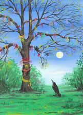 11x14 PRINT OF PAINTING RYTA RAVEN CROW TREE WISHES UNUSUAL ART WHIMSY SURREAL
