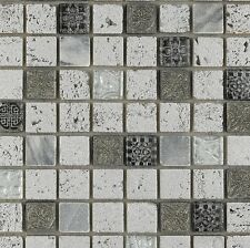 Imperium Silver     12 x 12 Spanish glass mosaic tile for Backsplash or shower
