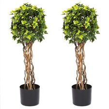 30 Inch Fake Artificial English Ivy Ball Topiary Trees Set of 2