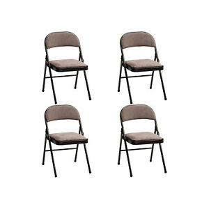 MECO 4-Pack of Deluxe Corrin Fabric Padded Folding Chairs with 16 x 16 Inch Seat