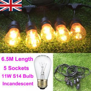 6.5M 5 E27 Sockets Plug In Outdoor Lighting Patio Pergola Festoon String Lights