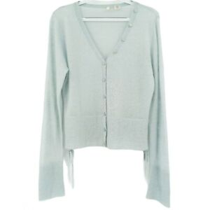 Anthro Moth Mohair Wool Light Green V-Neck Button Front Sweater Cardigan Size L