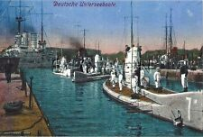 WWI (6 x 4) Repro German RP- Navy- Submarine- U-Boat #7- Battleship- In Port