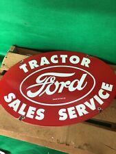 VINTAGE FORD SALELS & SERVICE TRACTOR PORCELAIN GAS STATION SIGN