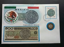 Mexico Art And Science Aztec Calendar 1973 Fdc (banknote coin cover *Rare 3 in 1