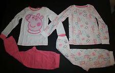 New Peppa Pig 4 Piece Long Sleeve Top & Long Pants Pajamas Size 4 5 110 cm Happy