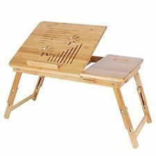 Natural Bamboo Portable Foldable Laptop Desk, Notebook Tray Table Bed + Drawer