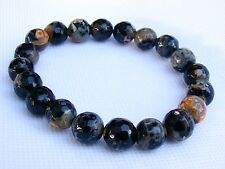Elasticated BLACK Men's 10mm FIRE CRACKLE AGATE  gemstone streachable bracelet