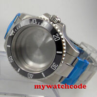 40mm black ceramic bezel flat sapphire glass Watch Case fit 2824 2836 MOVEMENT