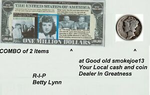 Lot of Betty Lynn Novelty Bill and Real 1929 Mercury Dime 90% silver Age 92 Bid.