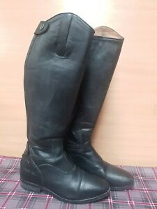 HARRY HALL BLACK LEATHER LONG RIDING BOOTS SIZE 4