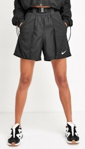 NIKE WMNS SWOOSH WOVEN SHORTS - BLACKCJ3807-010, BELTED, UK 8, S, gym running