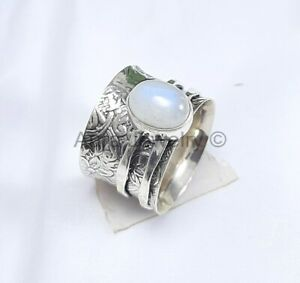 Anxiety Spinning Ring Sterling Silver Moonstone Wide Band - ANY SIZE