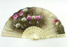 Vintage Hand Made Fancy Hand Fan With Flowers Hand Painted On It Women Fashion