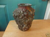 Vintage Gold and Red Goofus Glass 7-Inch Vase with Grape Design