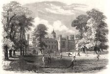 Rugby School. Warwickshire, antique print 1862