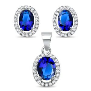 Oval Blue Sapphire Halo Stud Earring and Pendant Sterling Silver Set