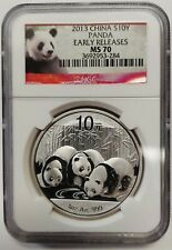 2013 Early Release China 10 Yuan Silver Panda Graded NGC MS70 Flawless Coin 3284