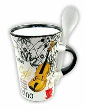 WHITE VIOLIN Cappuccino Mug & Spoon Coffee Cup Fiddle PLAYER Present Music Gift