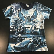 Indy Motor Speedway T Shirt M Womens Wing Blue Tire Race Car Indianapolis NWOT