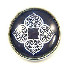 Noosa Style Chunks Snap Button Charms Chunk Charm Snaps Lotus Leaves Black 18mm