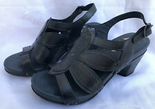 DANSKO NINA Gray Graphite Womans Leather Block Heel Clog Shoes Size 39