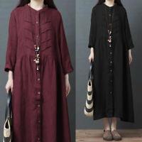 ZANZEA Women Long Sleeve Buttons Long Shirt Dress Ethnic Loose Oversize Dress