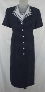 Vintage Dark Blue Plaid XL / 16 Office Church Button Down Midi Dress MISS DORBY