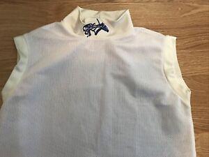 Jockey silk Thoroughbred horse racing White Embroidered Mesh Undershirt Sz S