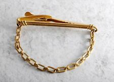 Vintage Tie Clip Hickok USA 50 Signed Drop Chain Brass Metal CLothing Accessory