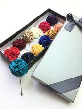 12Pcs Unibuy Mens Lapel Pin Set Lot Handmade Flowers Bouton Gift Box TOP QUALITY