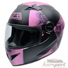 Casco moto integral NZI MUST II VICTORY PINK color negro y rosa mate talla S