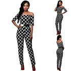 Sz 12 14 Monochrome Black Jumpsuits Off Shoulder Formal Club Sexy Party Slim Fit