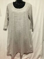 Simply Noelle Scoop Neck Reverse Seam long Tunic Washed gray  Sz S/M 8-10 Pocket