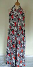 Estampado Patchwork Vintage 60s 70s Vestido Blusón Maxi largo sin mangas de algodón, s 10