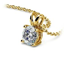 Round Cut Diamond Pendant .85 Carat E/SI2 Solitaire 14K Yellow Gold Necklace