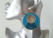 Gorgeous TURQUOISE enamel  sparkly glitter round disc hoop drop earrings NEW