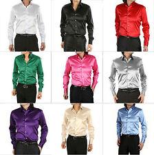 Fashion New Slim Fit Groom/Groomsmen Satin Dress Shirt Mens Formal Casual Shirts